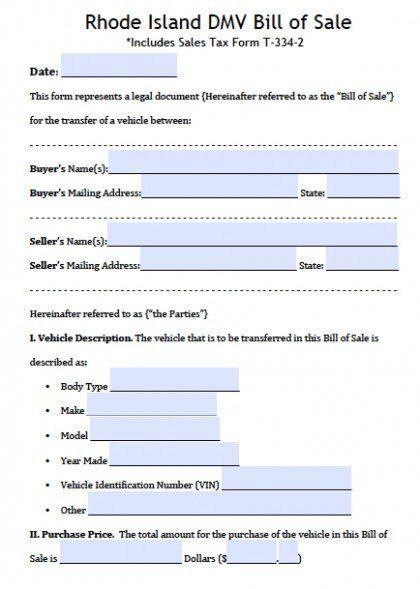 Bill Of Sale Template Ri | Template Design