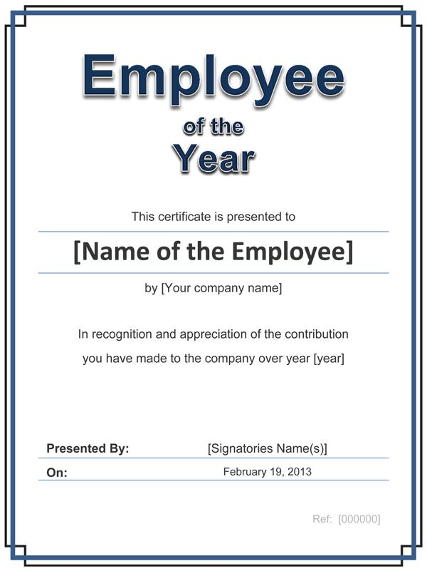Employee Award Cetificate | Free Template for Word