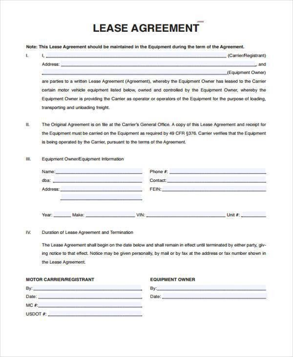 Sample Truck Lease Agreements - 9+ Free Documents in Word, PDF