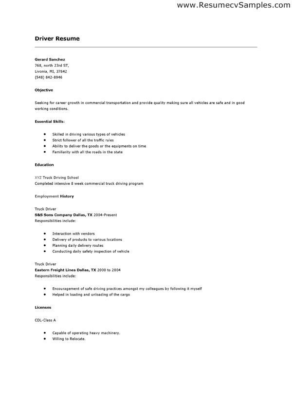 cdl driver resume driver resumes box truck driver resume sample ...