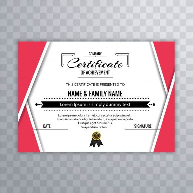 Red certificate of achievement template Vector | Free Download