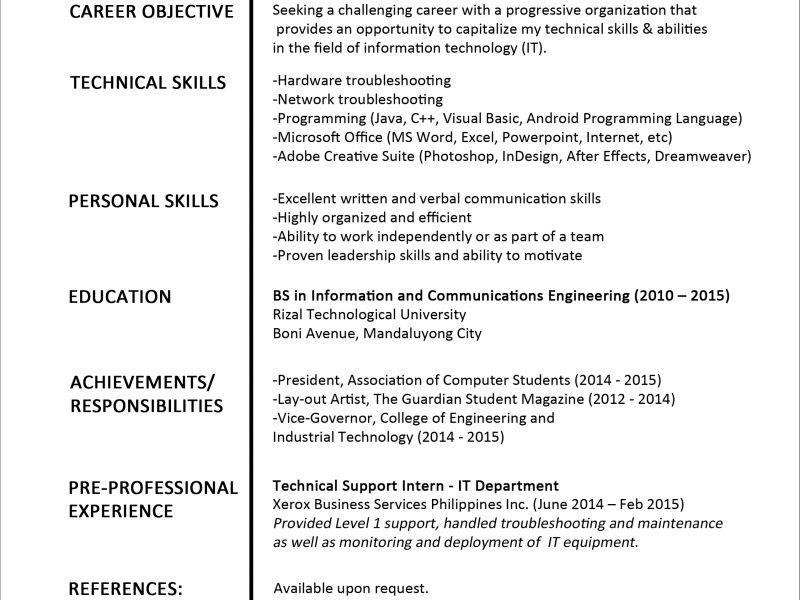 Fresh Graduate Resume Sample | haadyaooverbayresort.com