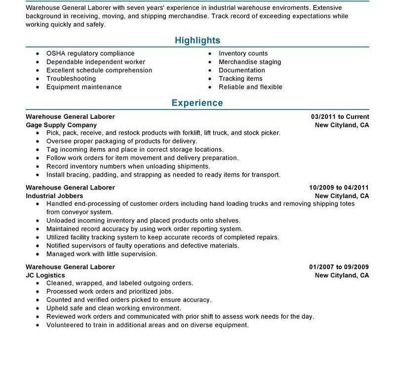 Cool Idea General Laborer Resume 2 Best General Labor Resume ...
