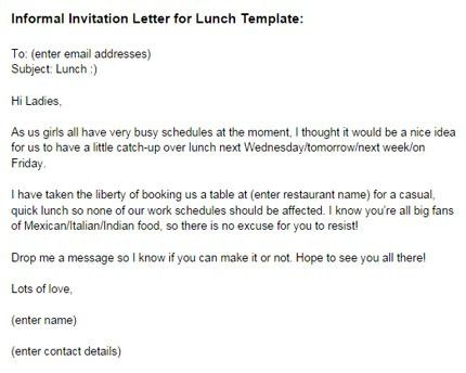 Informal Invitation Letter for Lunch Template | Just Letter Templates