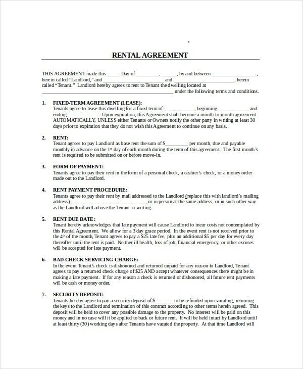 Month To Month Lease Agreement - 7+ Free PDF, Word Documents ...