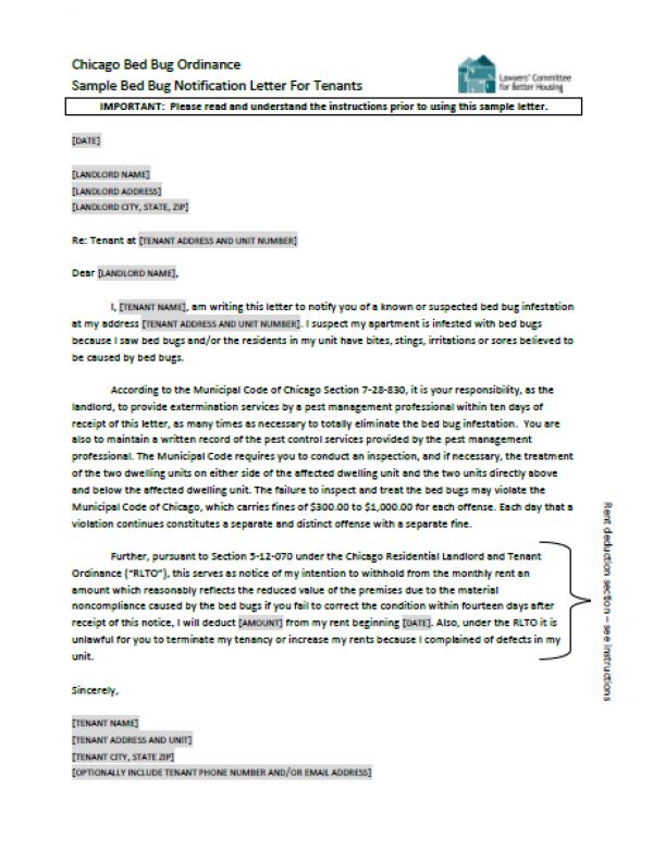 Sample Bed Bug Notification Letter For Tenants | Lawyers .