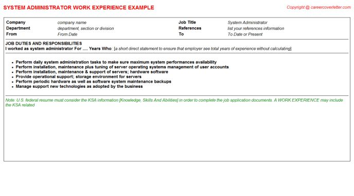 System Administrator Leader CV Work Experience Samples