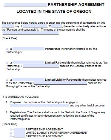 Free Oregon Partnership Agreement Template | PDF | Word |