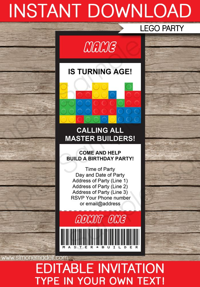 Lego Ticket Invitations | Birthday Party | Template