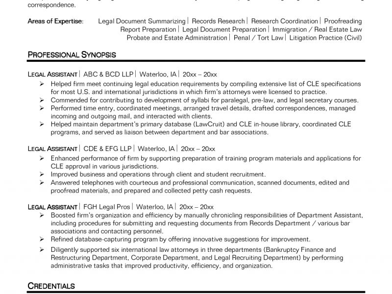 Pretentious Paralegal Resume Objective 10 Legal Secretary Entry ...