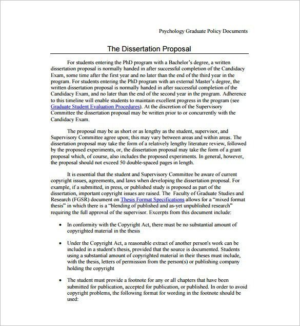 Dissertation Proposal Template – 11+ Free Word, Excel, PDF Format ...