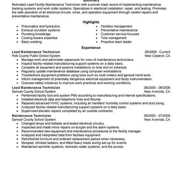 maintenance resume examples unforgettable maintenance technician