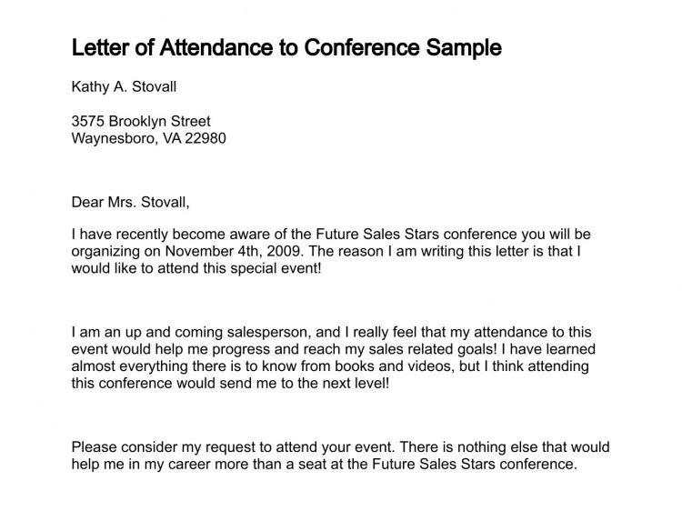 Letter of Attendance