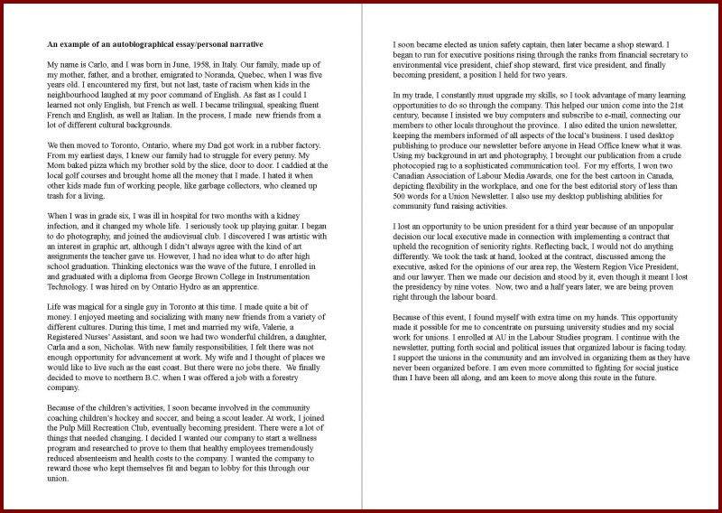 Self Assessment Essay. Biography Of Myself Essay | Docoments ...