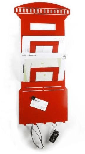 3 In 1 Post Box Magnetic Memo Board, Letter Rack And Key Holder ...