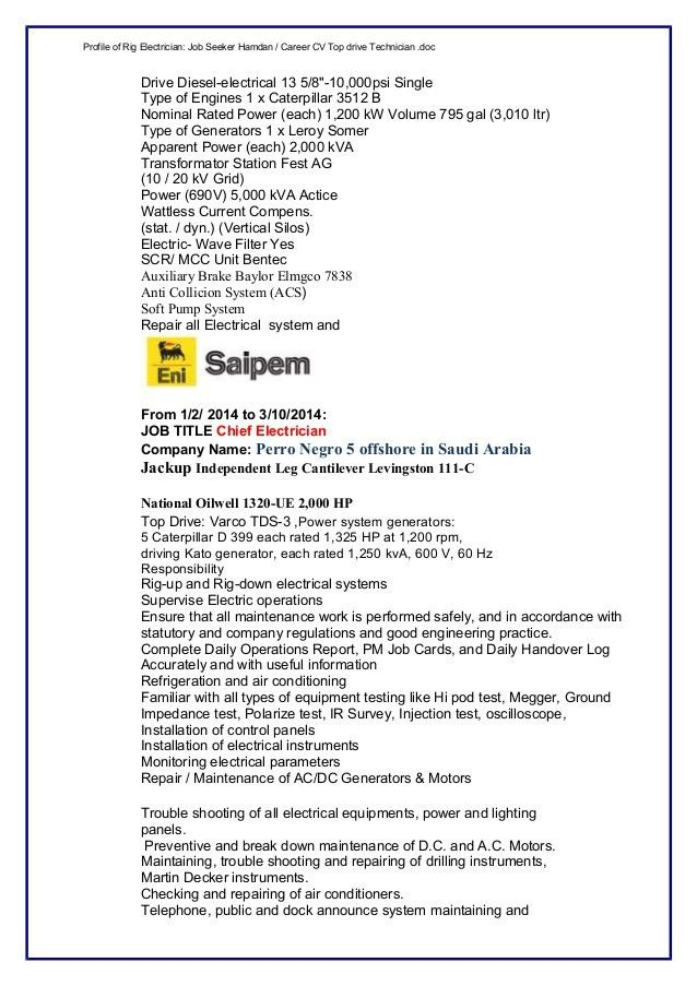 Oil Rig Electrician Resume - Osclues.com
