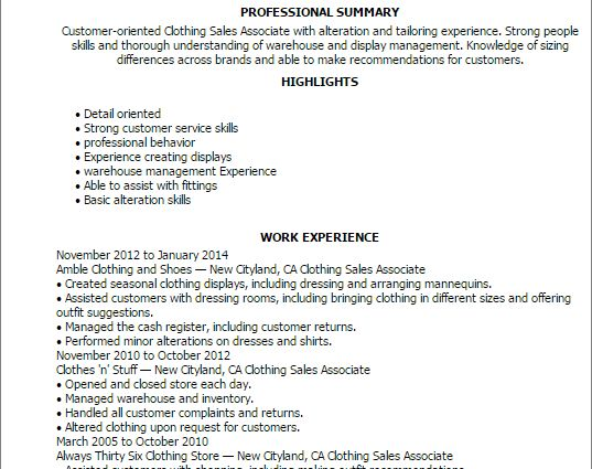 Clothing Sales Associate professional summary and work experience ...