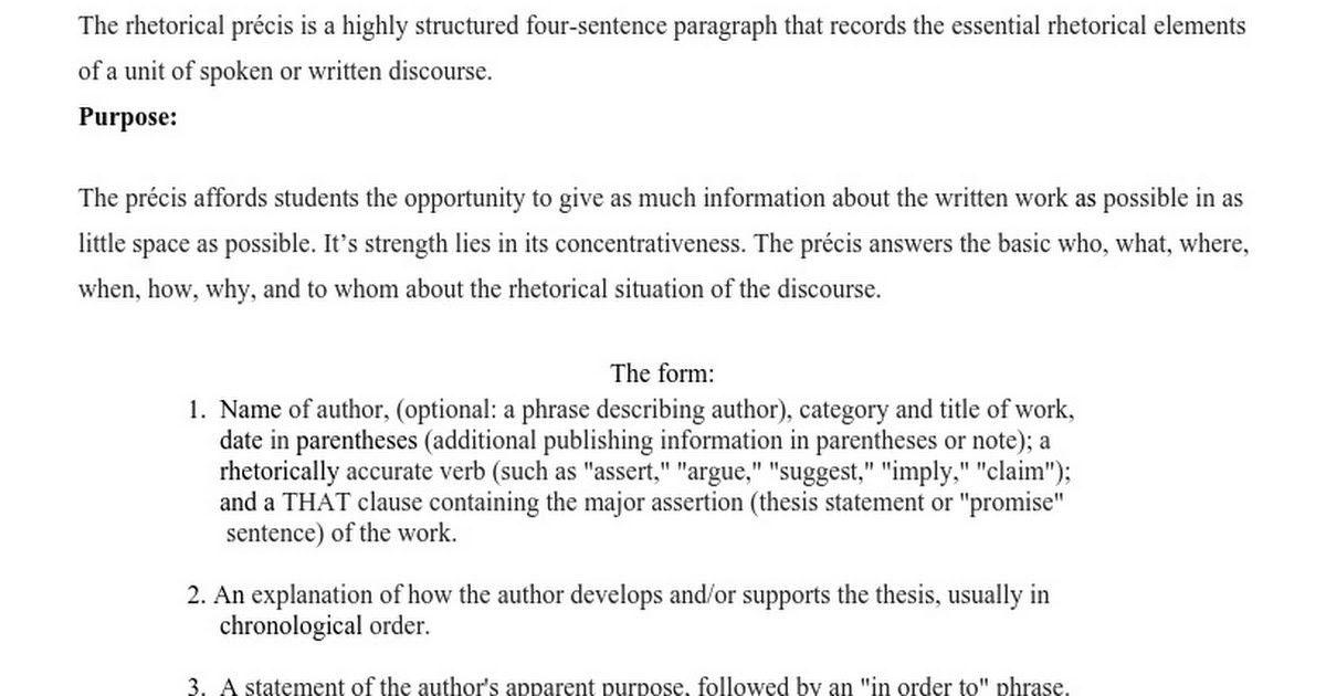 Rhetorical Situation Example Rhetorical Situations Of Essay 1 – Rhetorical Precis Template