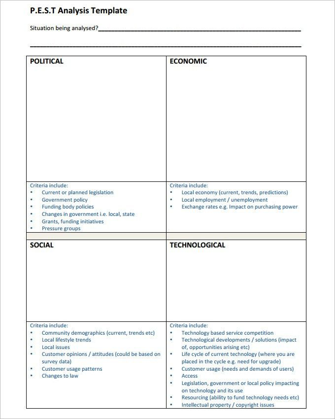 Pest Analysis Template - 4 Free Word, PDF Documents Download ...