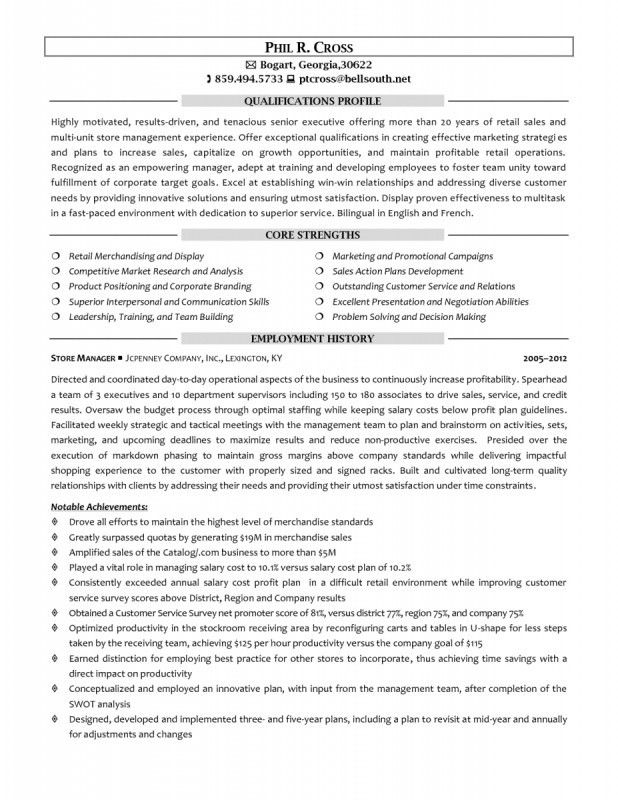 Retail Store Manager Resume Sample | Samples Of Resumes