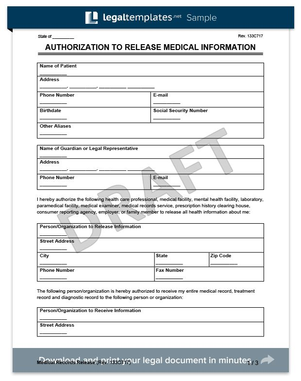 Medical Records Release Form | Create a Request for Medical ...