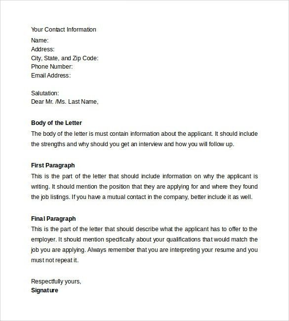 Resume Cover Letter - 13+ Samples , Examples & Formats
