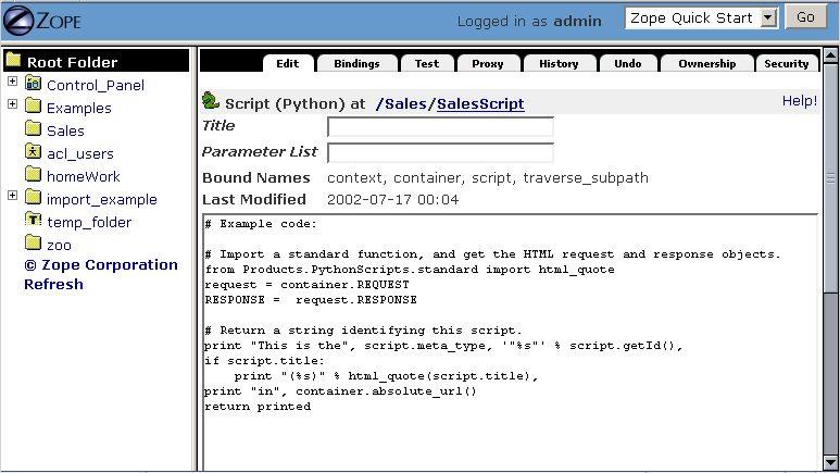 7. Using Basic Zope Objects — Zope 2 v2.x documentation