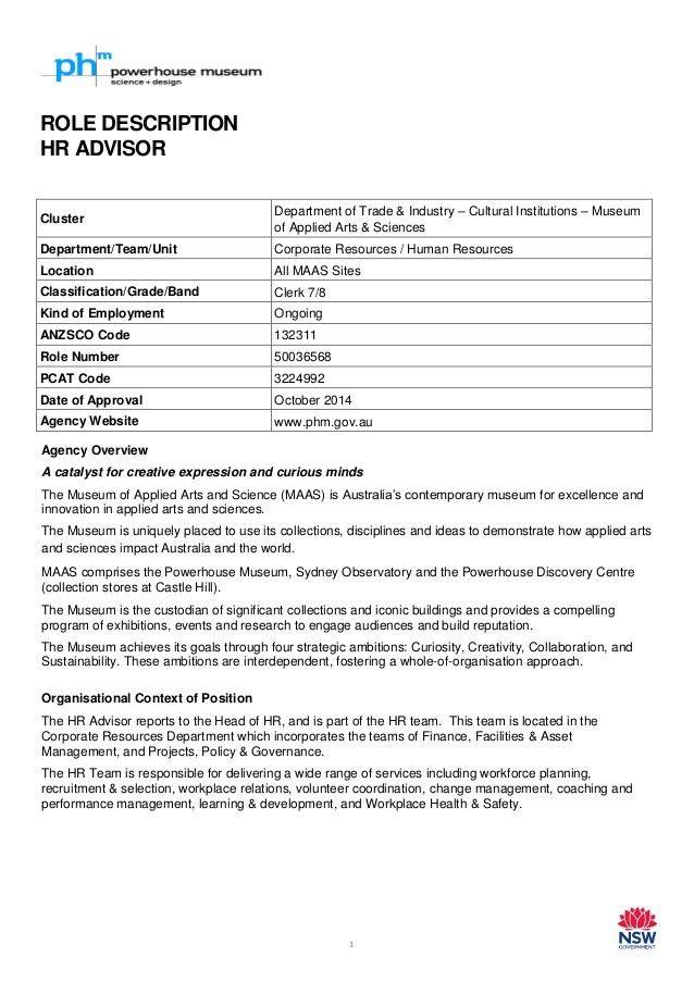 HR Advisor - Role Description