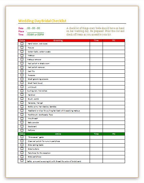 Wedding day checklist template for bridal - Dotxes