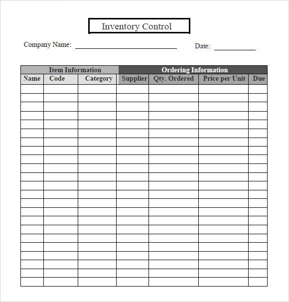 Sample Inventory Sheet. In The Example Below, 66 Items Have Been ...