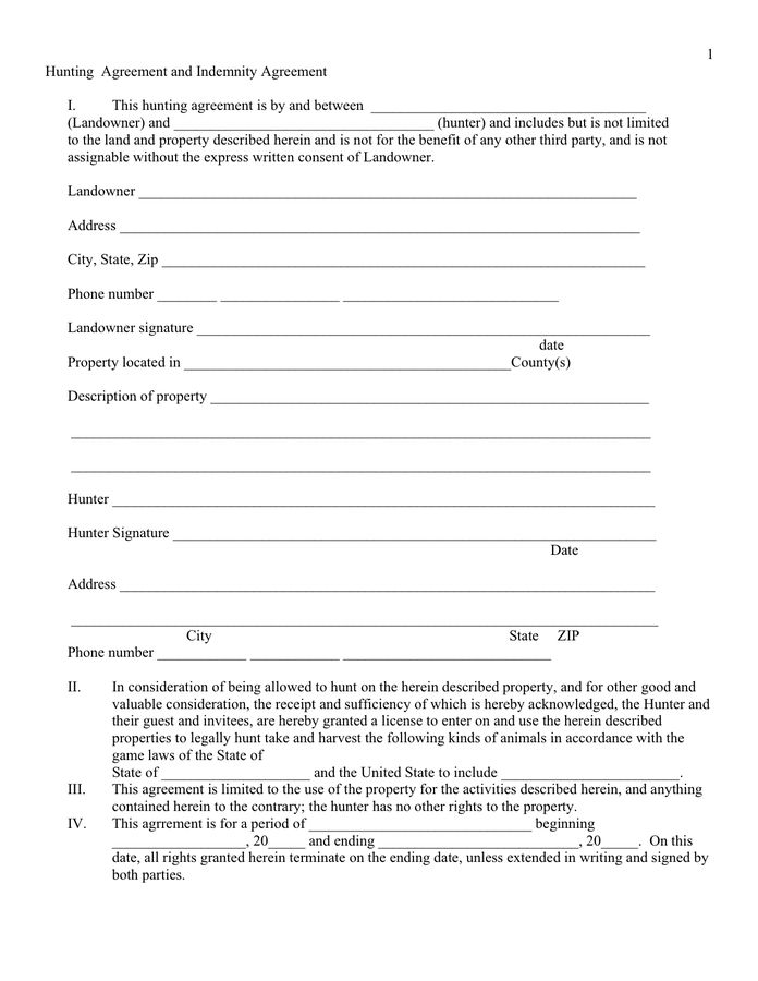 Hunting agreement and indemnity agreement template in Word and Pdf ...
