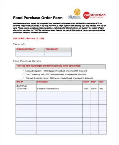 Sample Food Order Forms - 8+ Free Documents in PDF