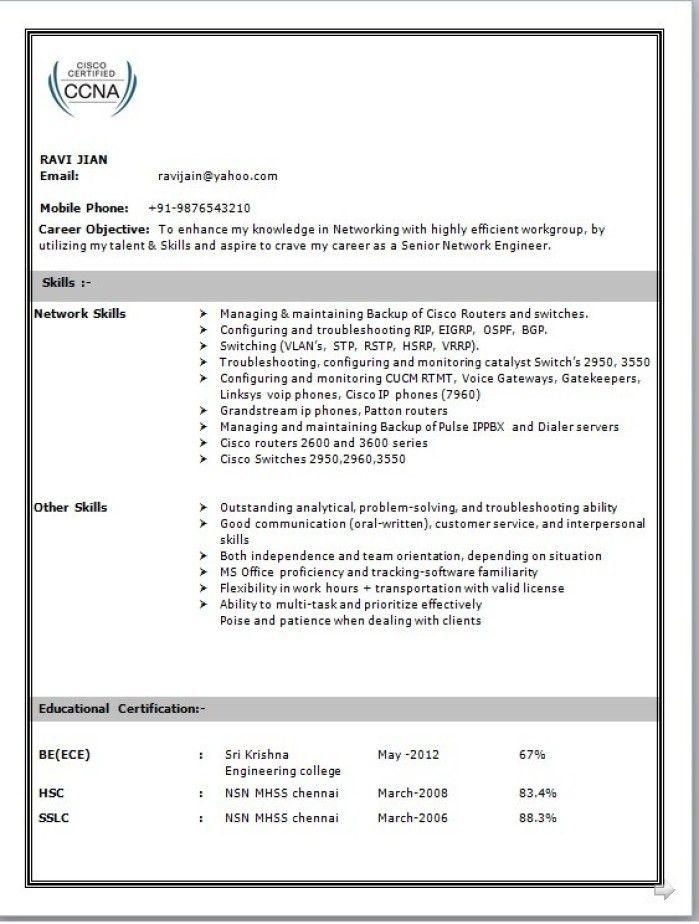 Cisco Voip Engineer Resume - Contegri.com