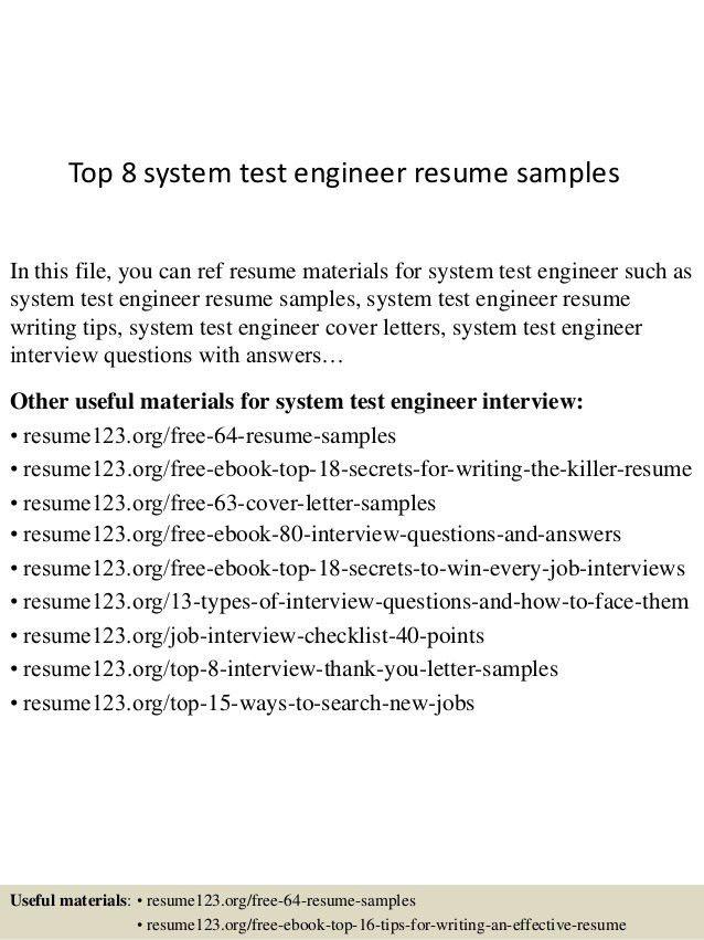 Modem system test engineer cover letter