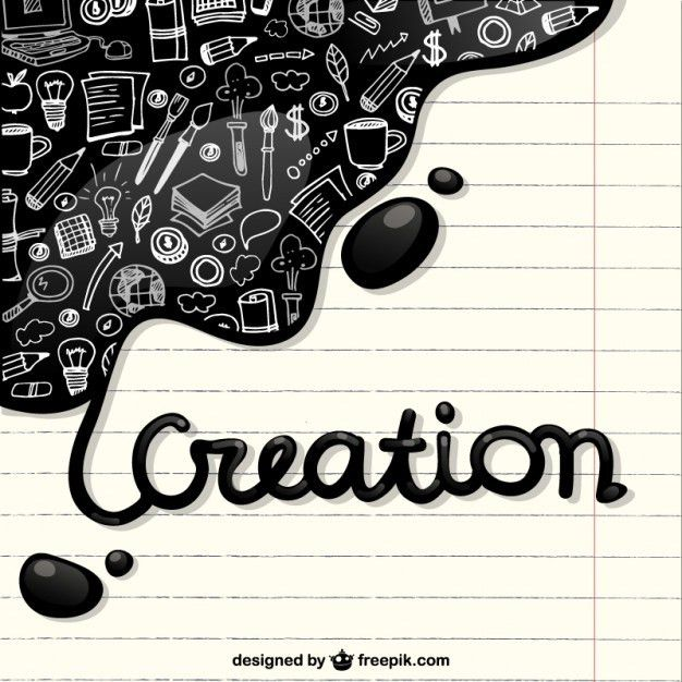 Creation icons in a notebook paper Vector | Free Download