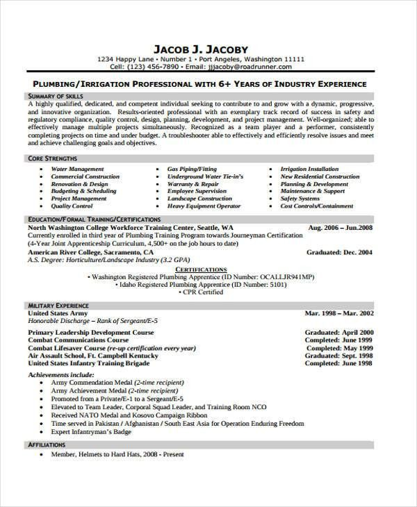 9+ Plumber Resumes - Free Sample, Example Format Download | Free ...