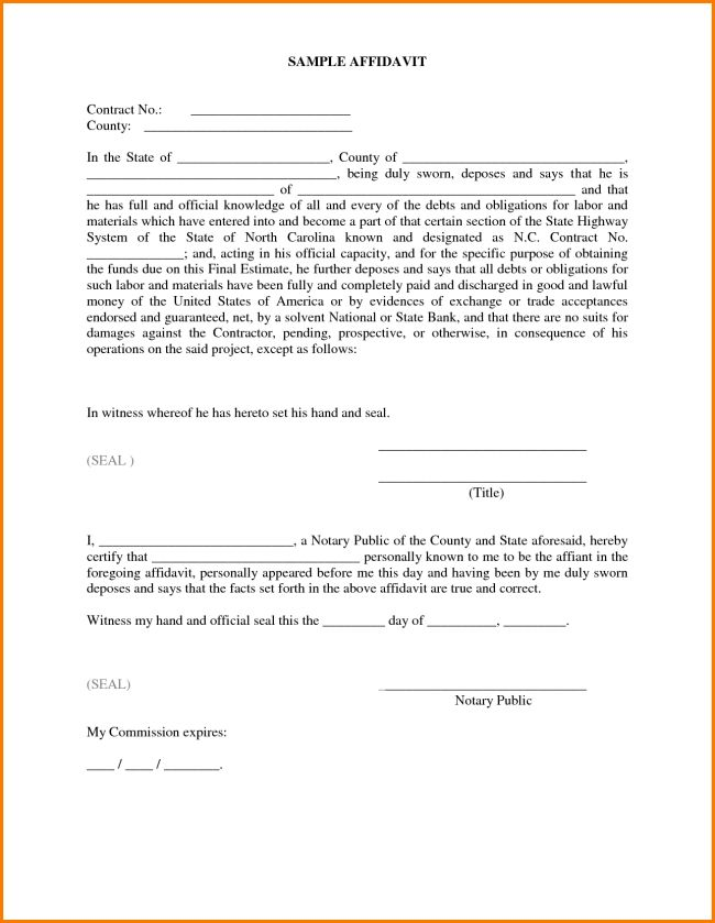 Impressive Sample of Affidavit Form Template with Some Blank ...