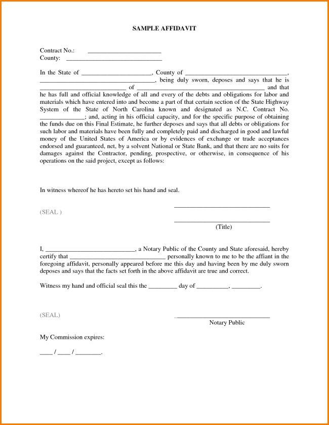 Impressive Sample of Affidavit Form Template with Some Blank ...