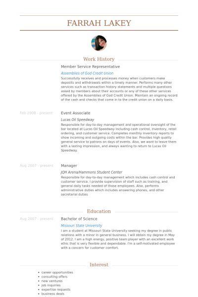 Member Service Representative Resume samples - VisualCV resume ...