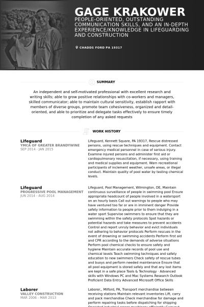 Lifeguard Resume samples - VisualCV resume samples database