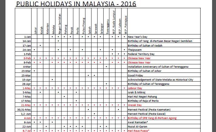 Calendar Template Malaysia