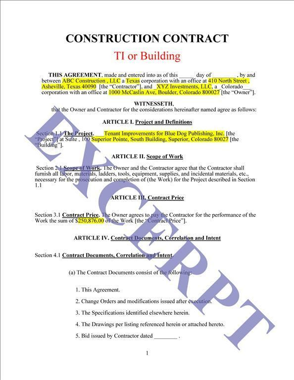 Construction Agreement Forms. Construction Loan Indemnity ...