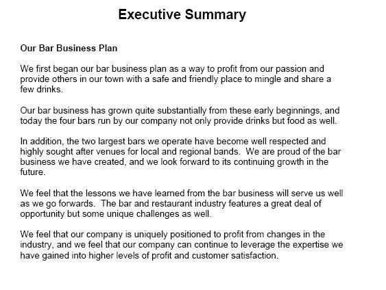 Executive Summary Sample