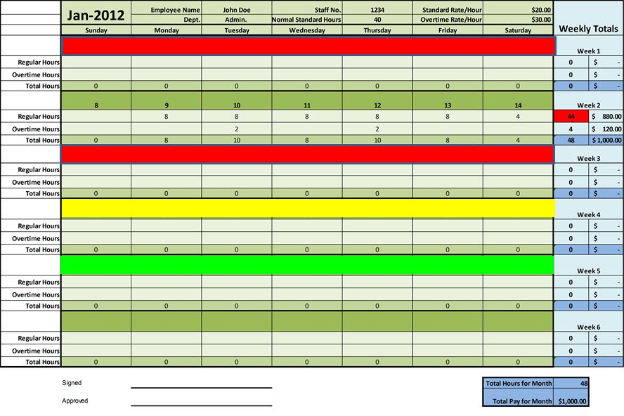 Timesheet Templates Excel for employee management