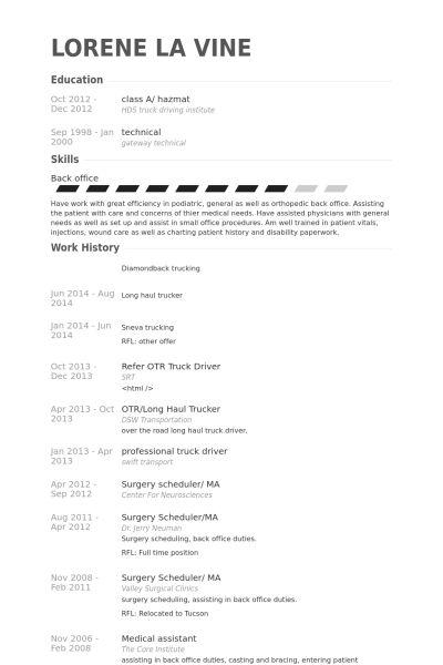 Truck Driver Resume samples - VisualCV resume samples database