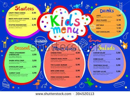 Cute Colorful Meal Kids Menu Template Stock Vector 623970710 ...