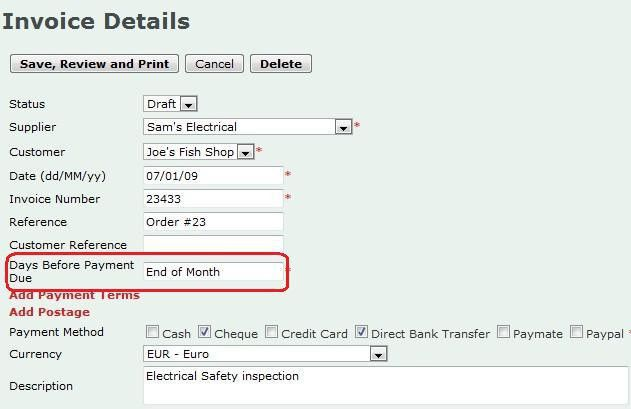 Invoice Place blog » Create an invoice with end of month payment terms