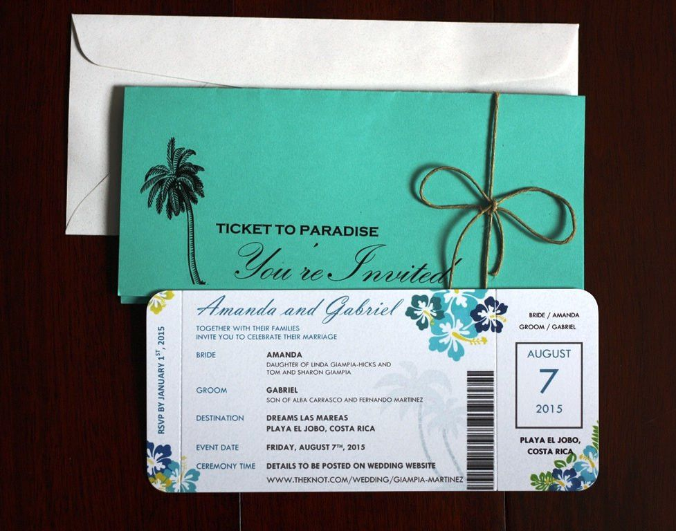 Creative of Ticket Style Wedding Invites | Wedding Guide