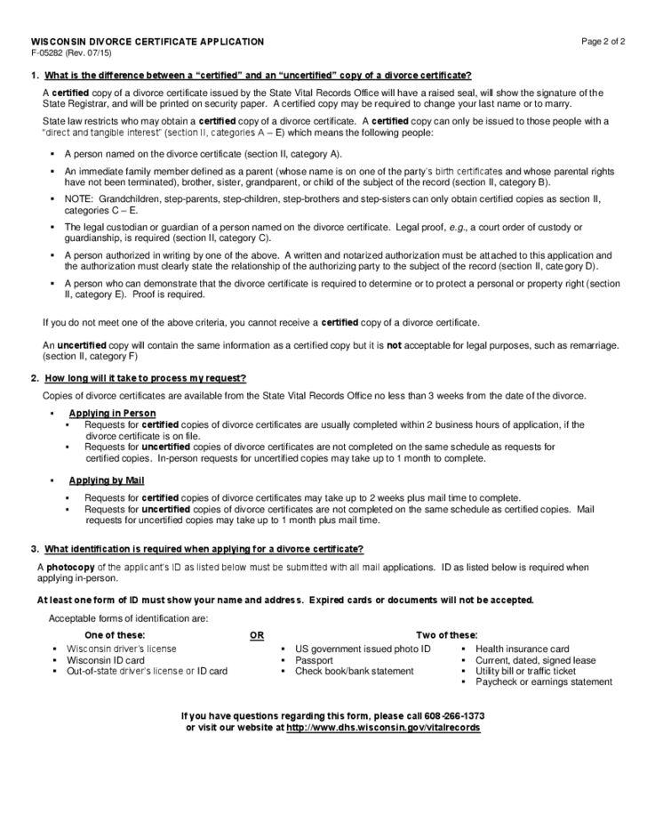 Divorce Certificate Application Form - Wisconsin Free Download