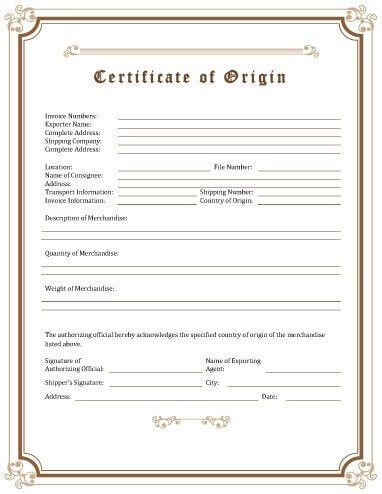 Certificate of Origin [Template Download]